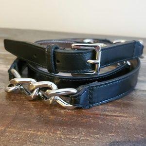 MICHAEL/Michael Kors Black Leather & Chain Belt